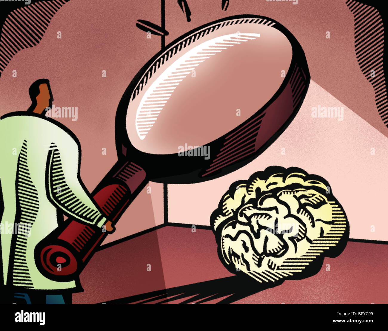 Doctor looking at a brain through a giant magnifying glass Stock Photo