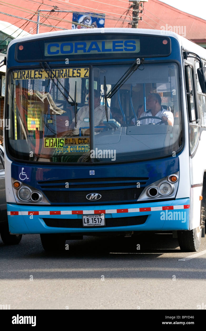 Public transportation bus in Limon, Costa Rica. - Stock Image