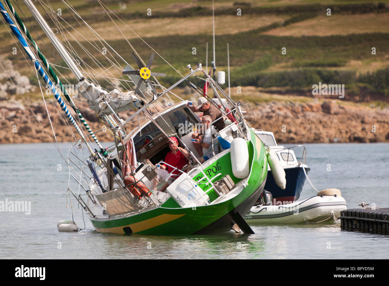 Yacht aground in Hugh Town St Mary's Isles of Scilly UK - Stock Image