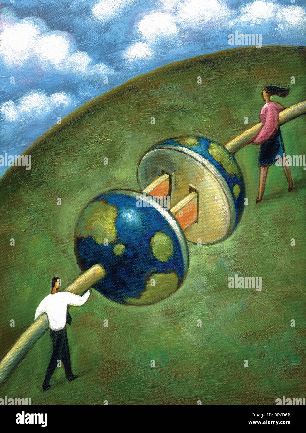 Two business people plugging giant cords together that fit into the shape of earth - Stock Image