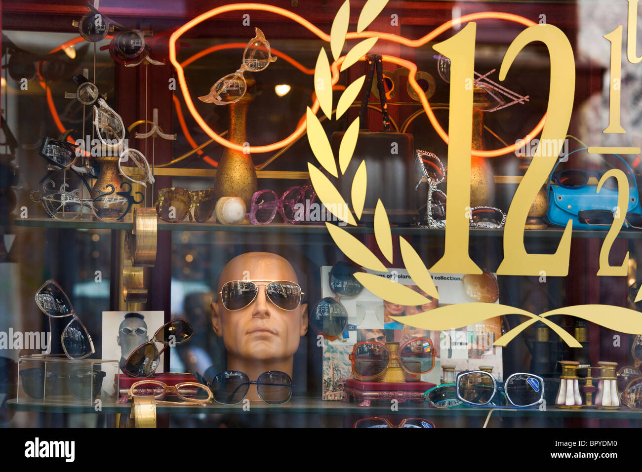 Amsterdam. Display window of The National Spectacle Museum and Shop in the famous Nine Little Streets shopping district. - Stock Image