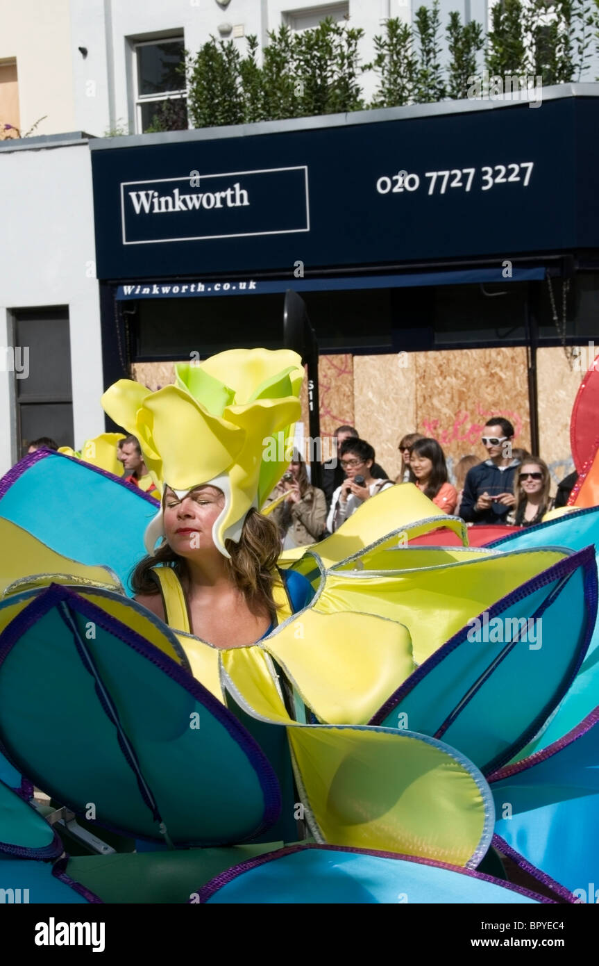 Close up of flower, Caucasian masquerade women dancing at the Notting Hill Carnival, 2010, London, England, UK, - Stock Image