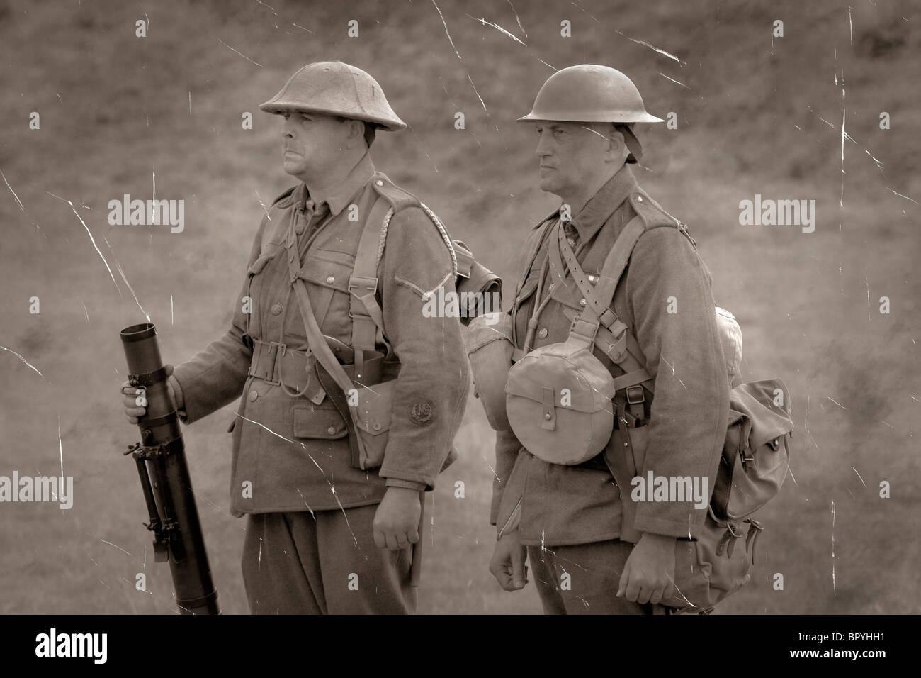 WW1 British Army Lewis Machine Gun team at a training camp 1917