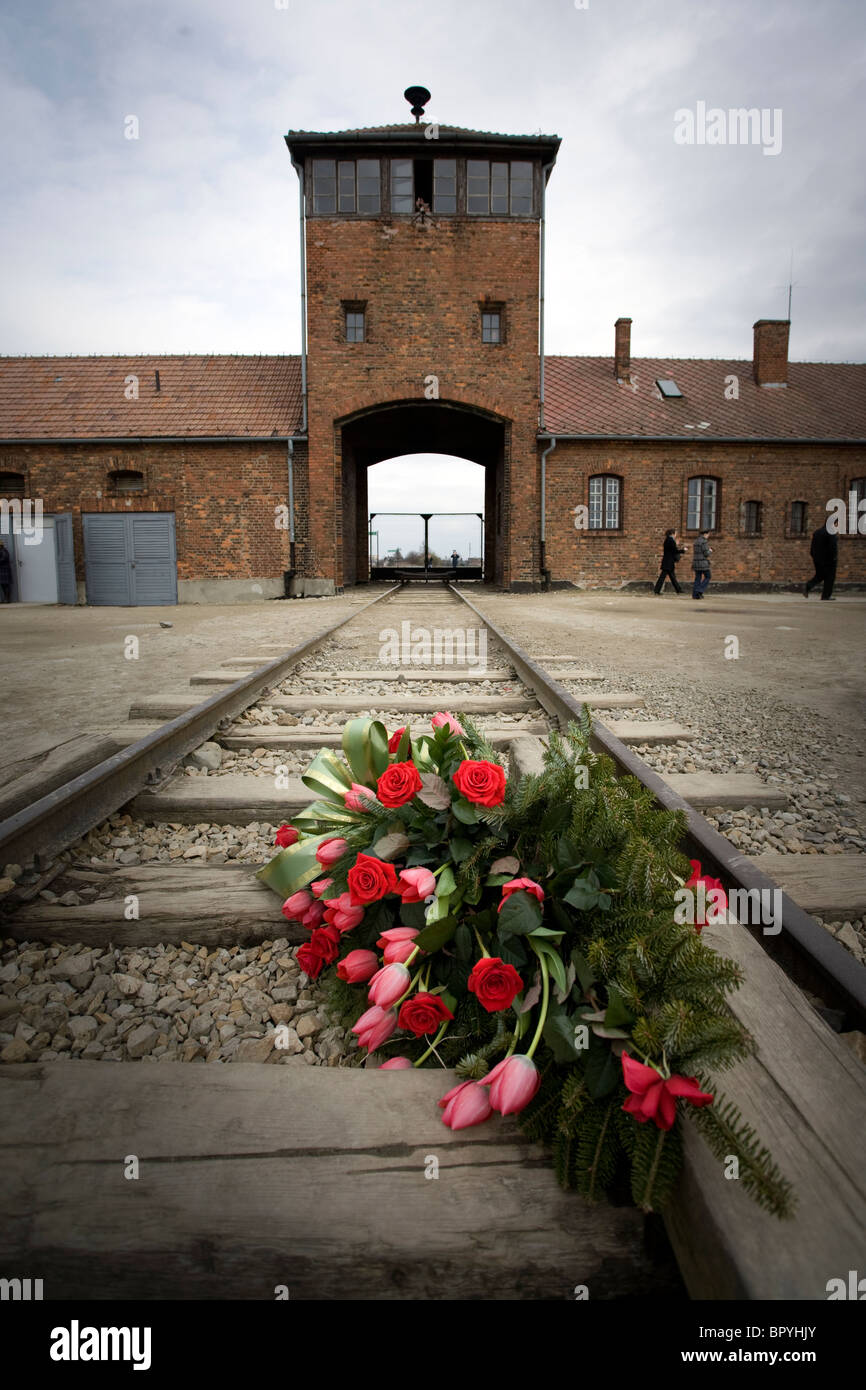 Red flowers on the train tracks at Birkenau Concentration Camp, Poland. - Stock Image