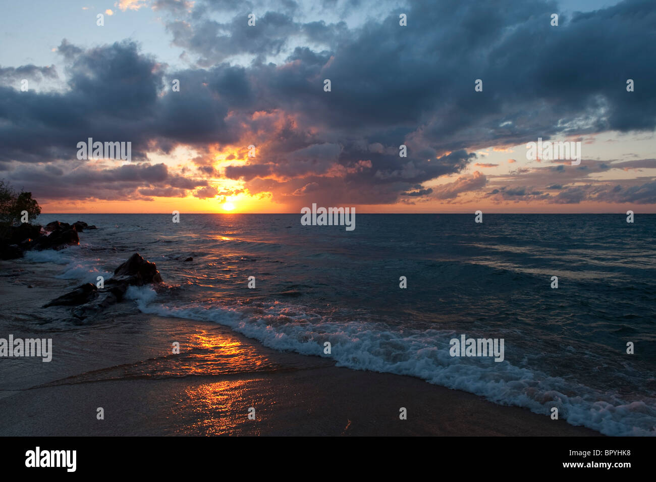 Beach at sunset, Chintheche, Malawi - Stock Image