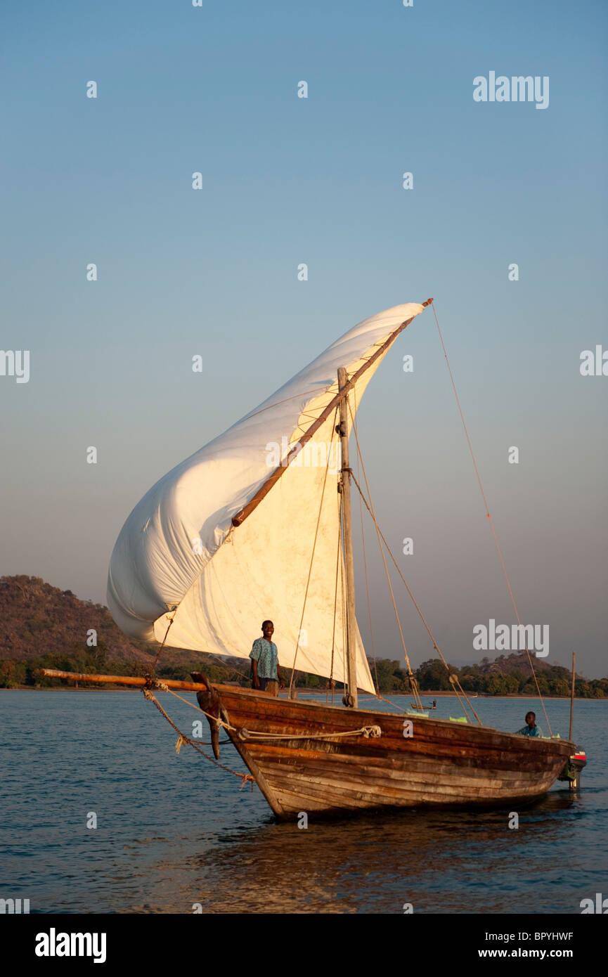 Dhow on lake Malawi, Cape Maclear, Malawi - Stock Image