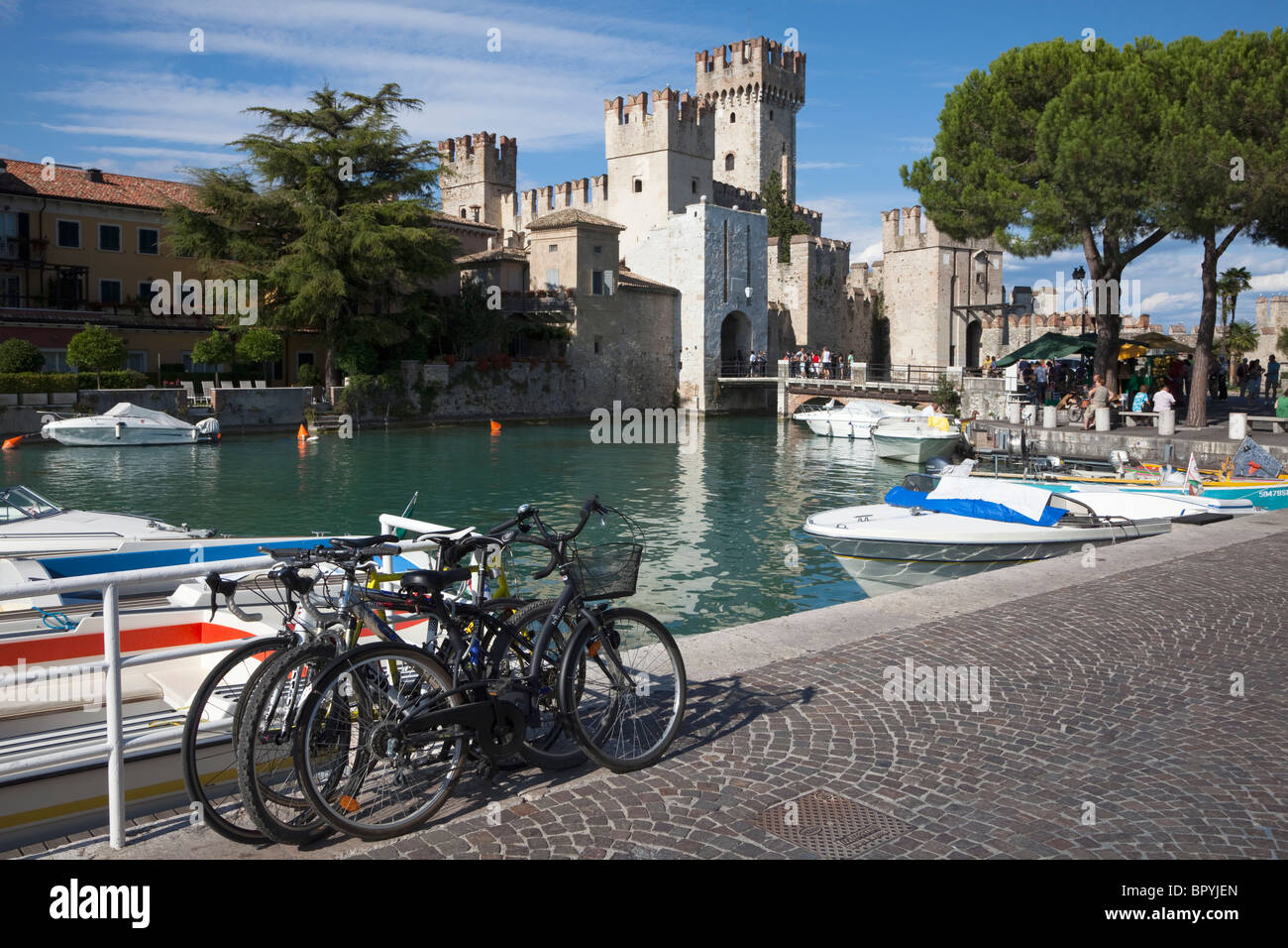 Castle at Sirmione, Lake Garda, Italy - Stock Image