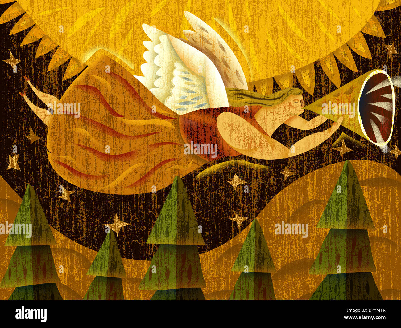 A winged angel flying while playing a horn instrument - Stock Image