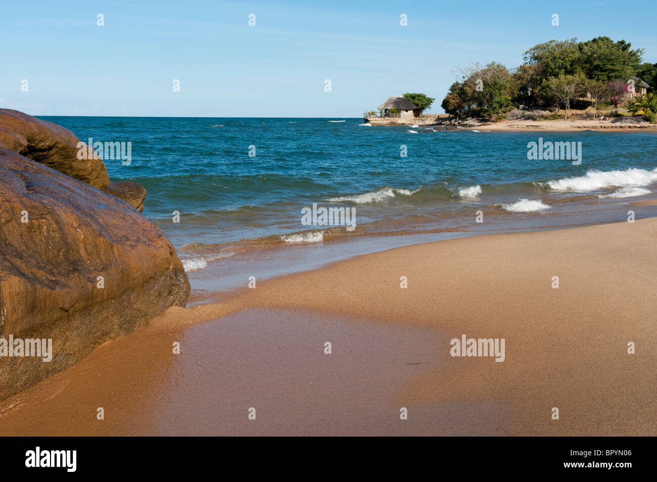 Beach, Chintheche, Malawi - Stock Image