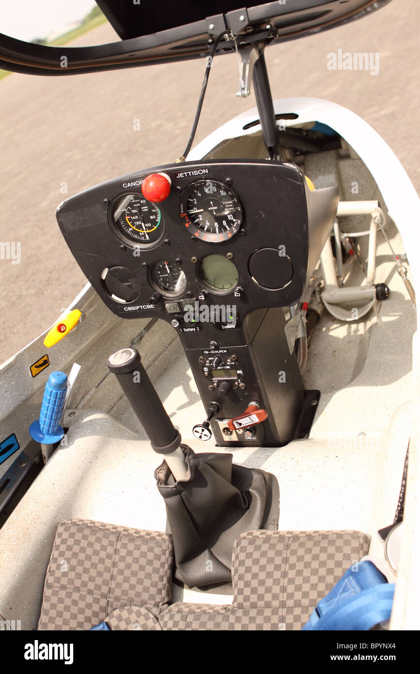 Glider sailplane cockpit controls and instrument panel of a PW-6 club training glider - Stock Image