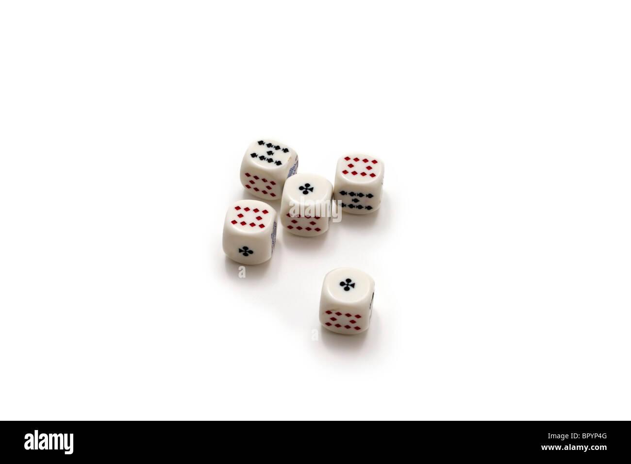 Five gambling dice - Stock Image