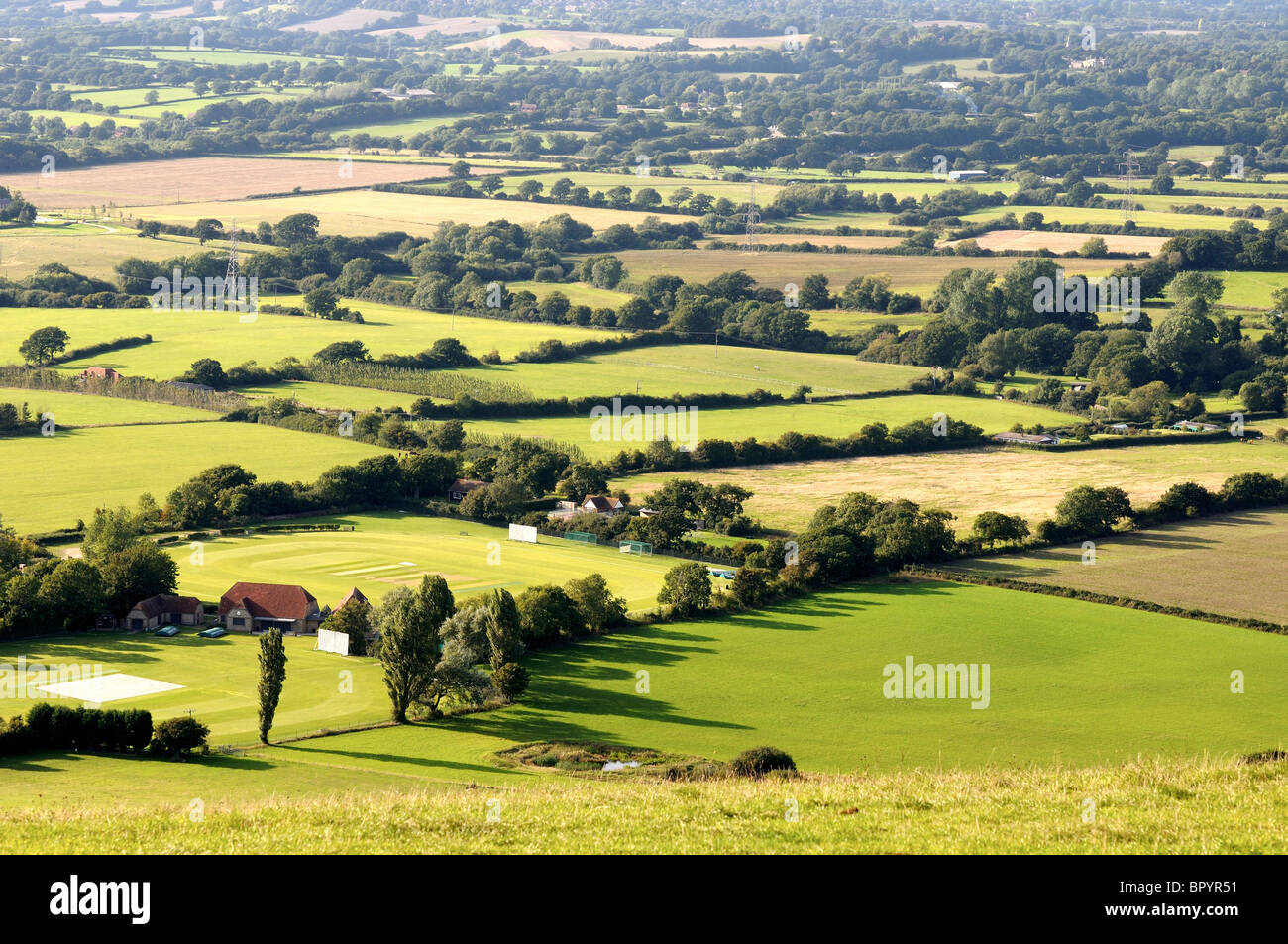 Patchwork of fields from high viewpoint in the South Downs National Park,Sussex Stock Photo