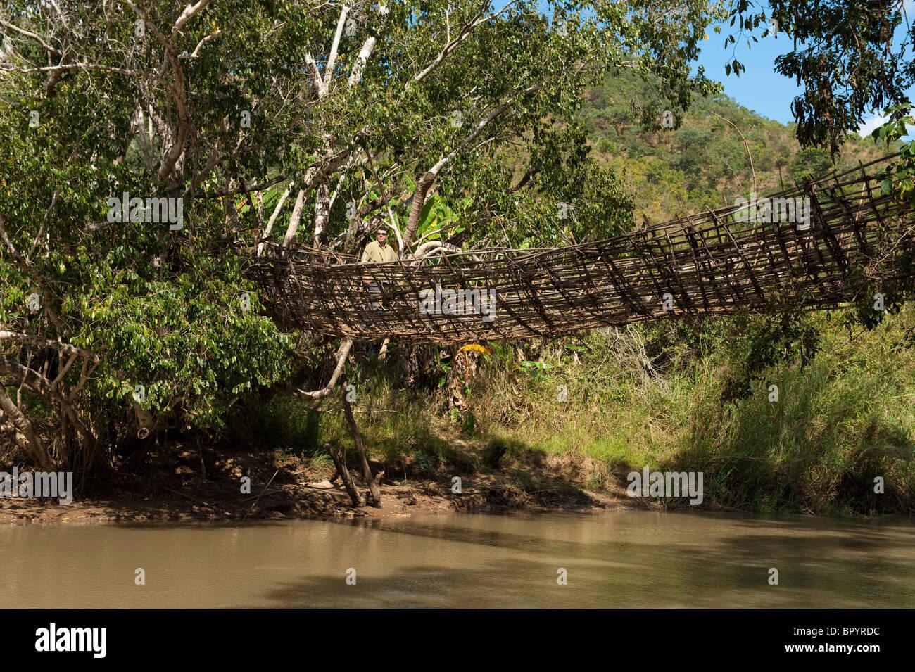 Traditional basket bridge, crossing the south Rukuru river, Kandewe village, Rumphi region, MalawiStock Photo