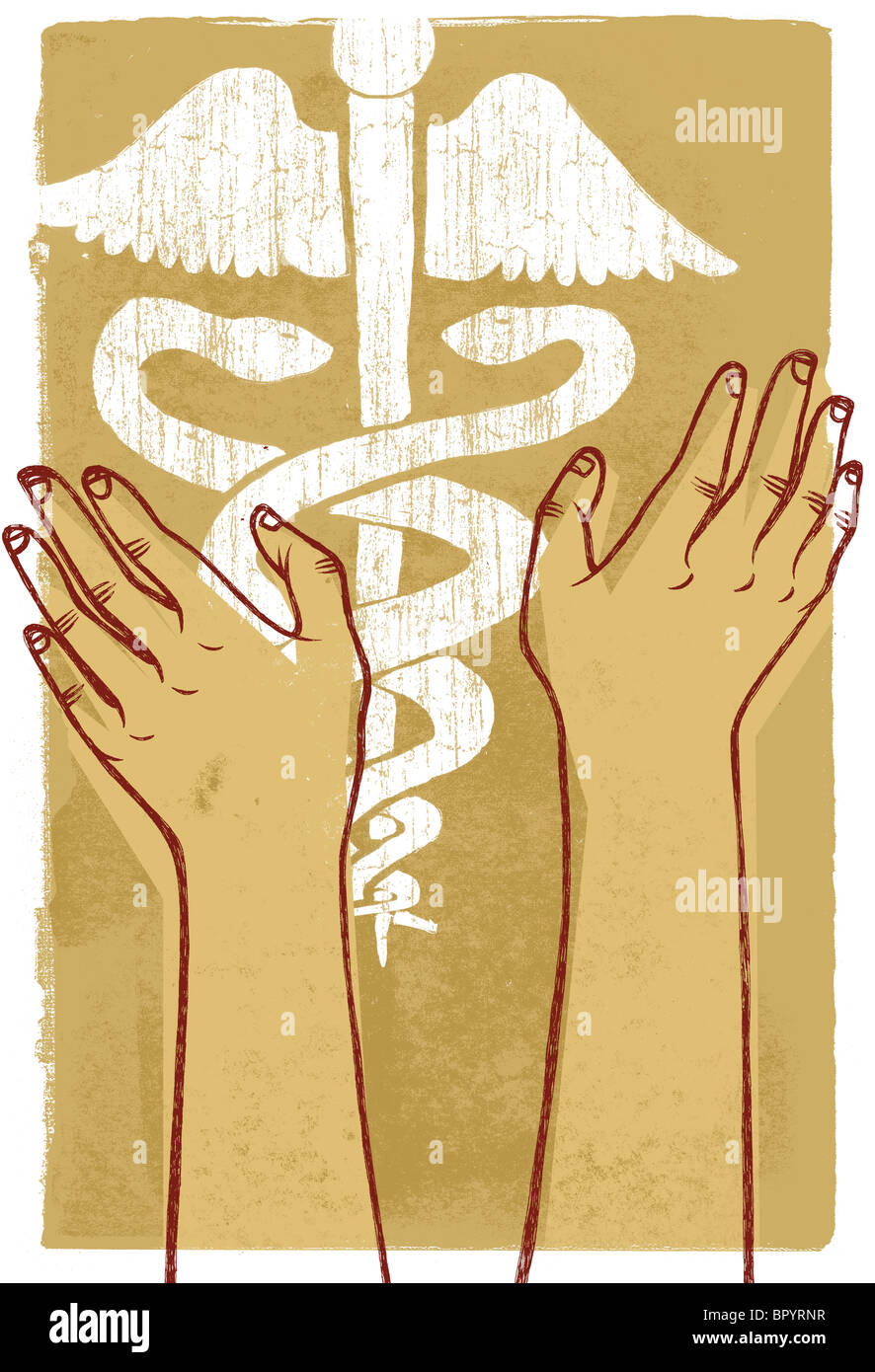 Two human hands reaching for a caduceus - Stock Image