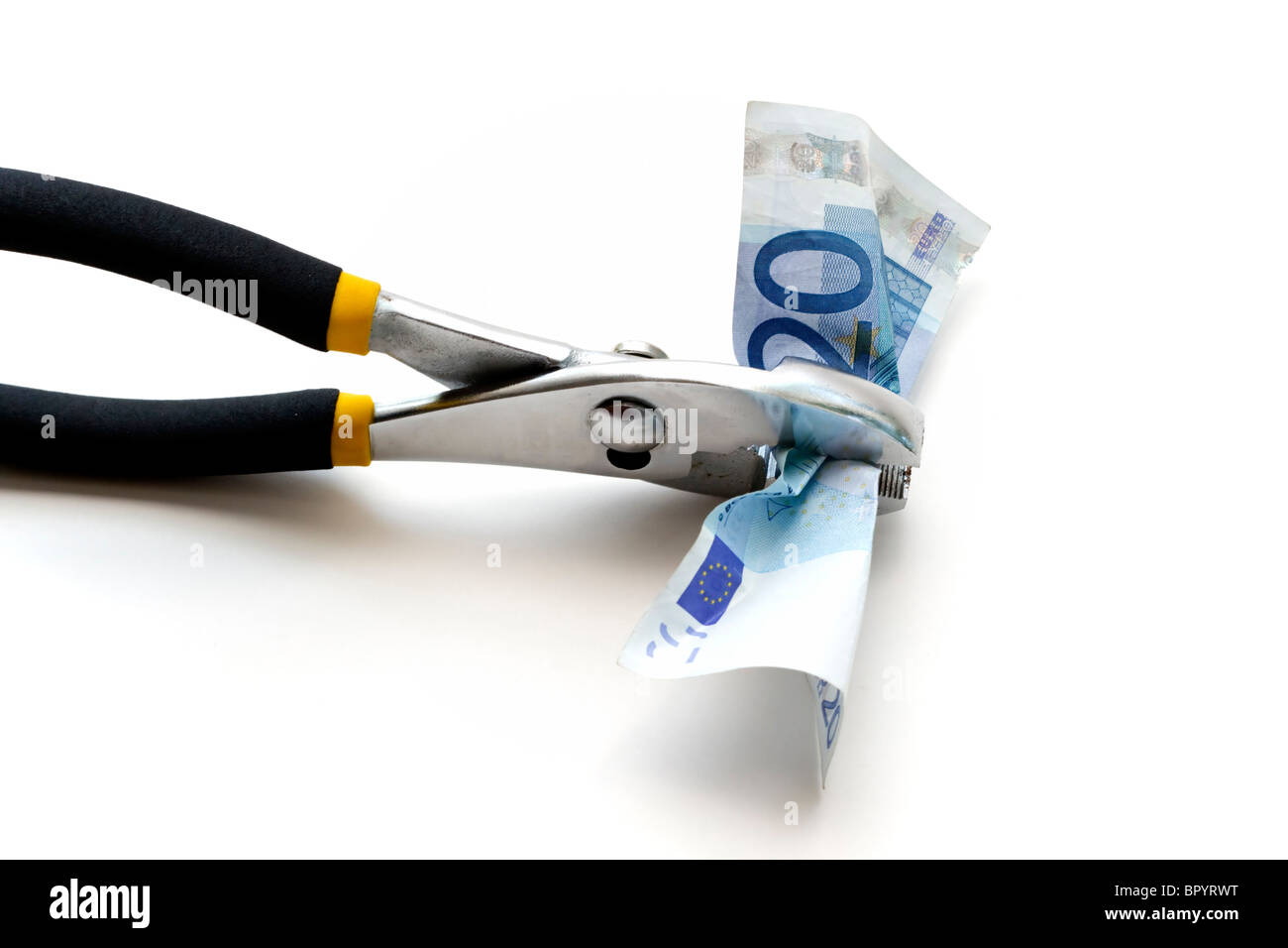 Euro being squeezed Stock Photo