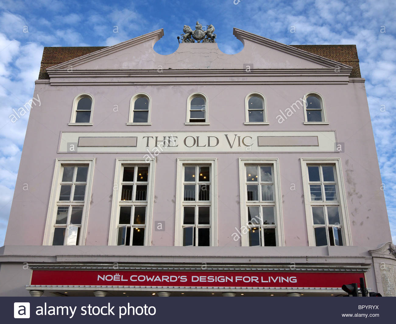 Front view of The Old Vic Theatre in London - Stock Image
