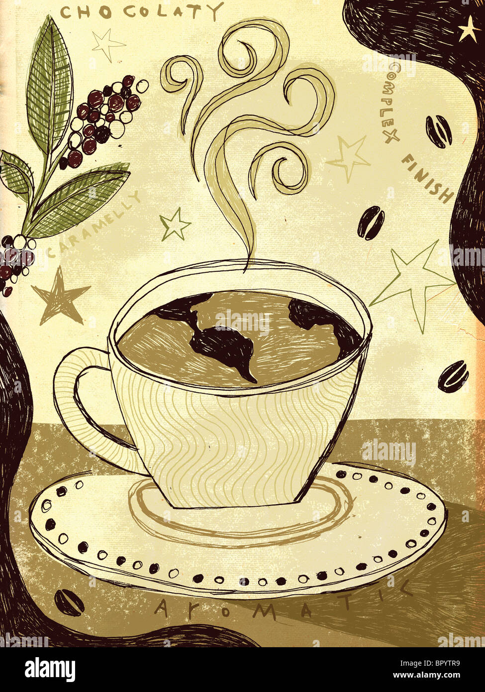 Steaming hot coffee with a globe in it - Stock Image