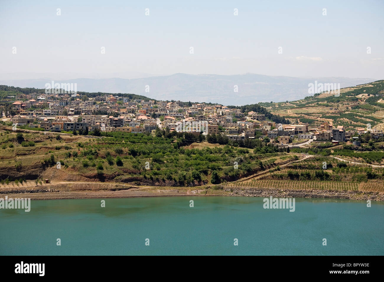 Aerial photograph of the Ram pool in the northern Golan Heights - Stock Image