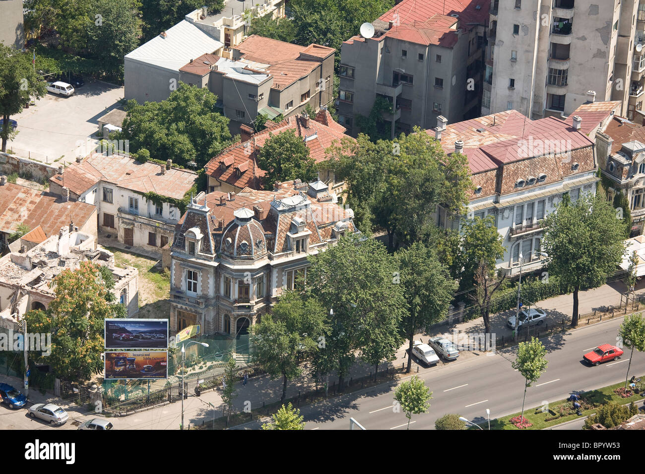 Aerial photograph of the Romanian city of Bucharest - Stock Image