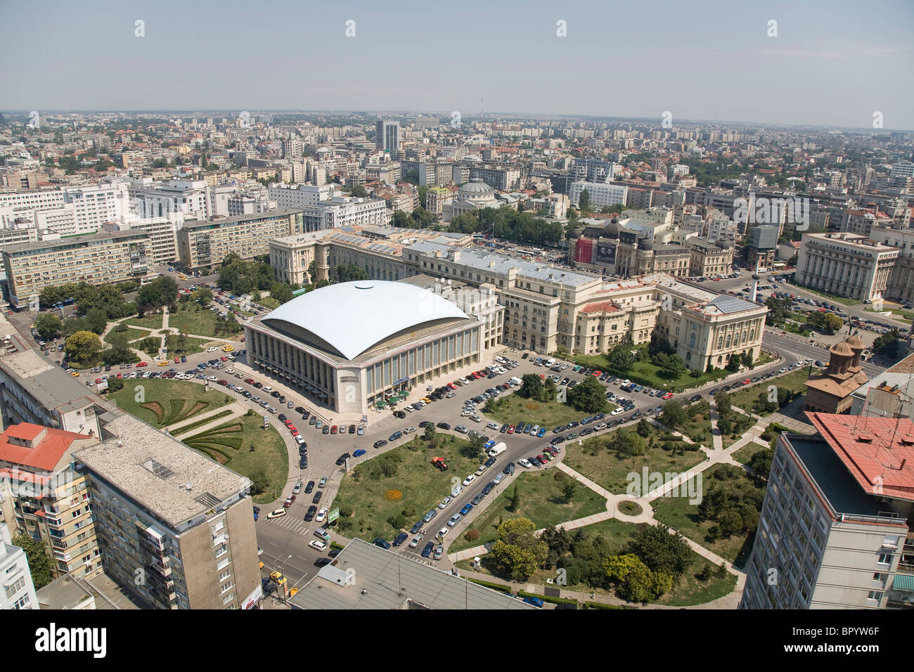Aerial photograph of the modern city of Bucharest in Romania - Stock Image