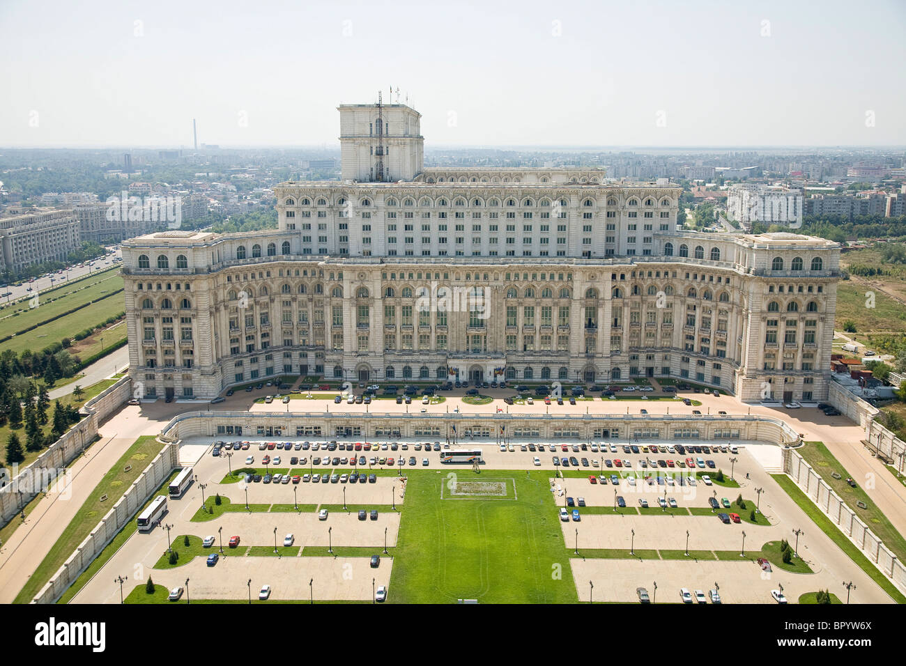 Aerial photograph of the Romanian Palace of Parliament in the city of Bucharest Stock Photo