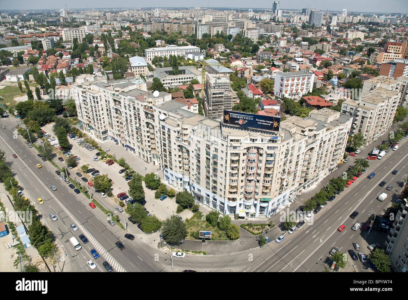 Aerial photograph of the city of Bucharest in Romania - Stock Image
