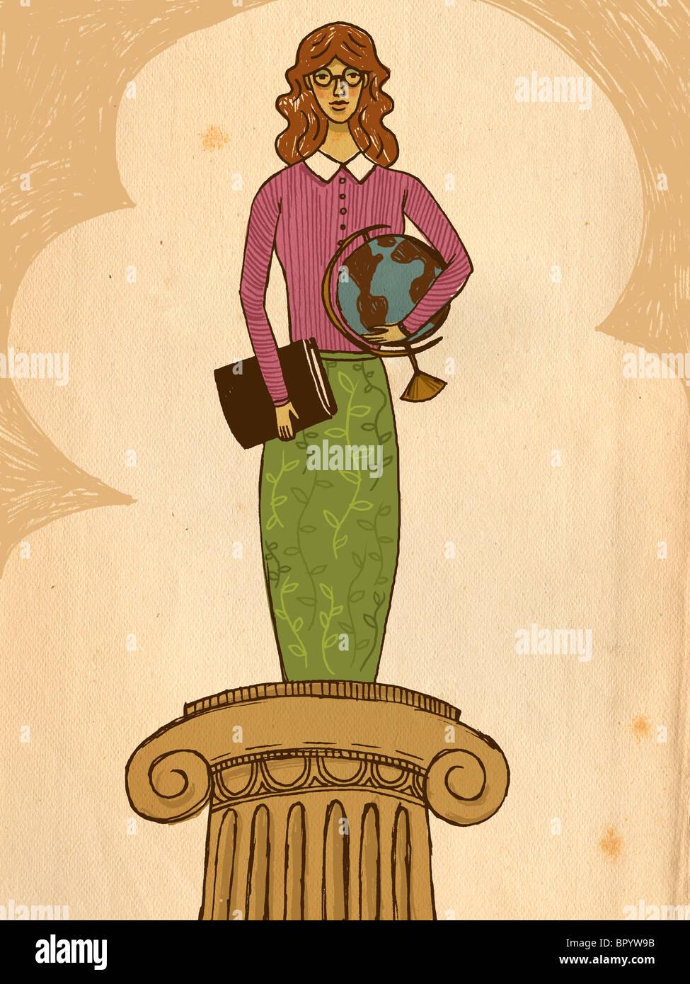 https://c8.alamy.com/comp/BPYW9B/a-teacher-with-a-book-and-a-globe-standing-on-a-pedestal-BPYW9B.jpg