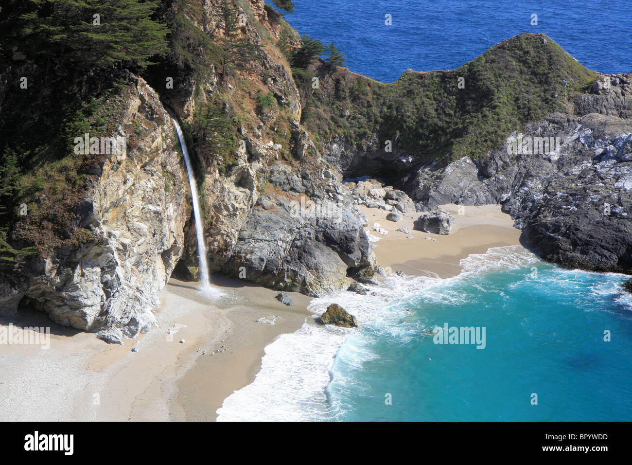 McWay Cove waterfall, California, USA - Stock Image