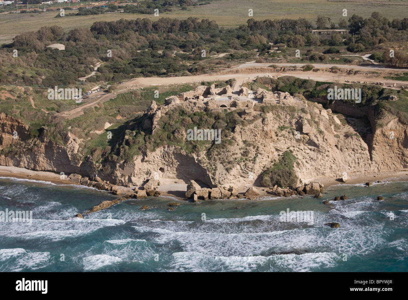 Aerial photograph of the ruins of the Apollonia fortress in the modern city of Herzliya - Stock Image