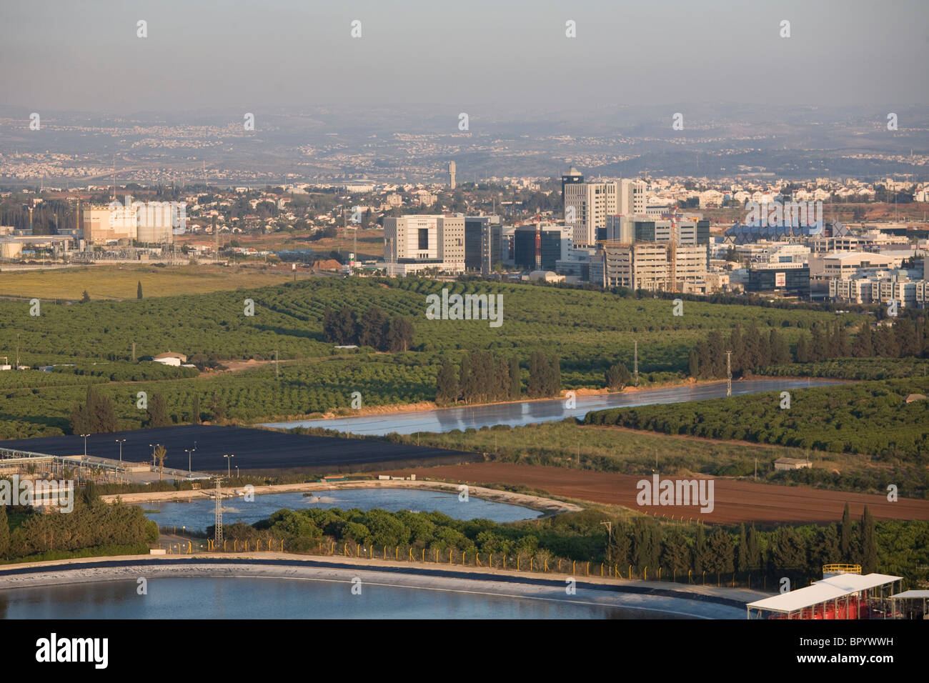 Aerial photograph of the Hi-Tech center of the city of Ra'anana in the Sharon - Stock Image