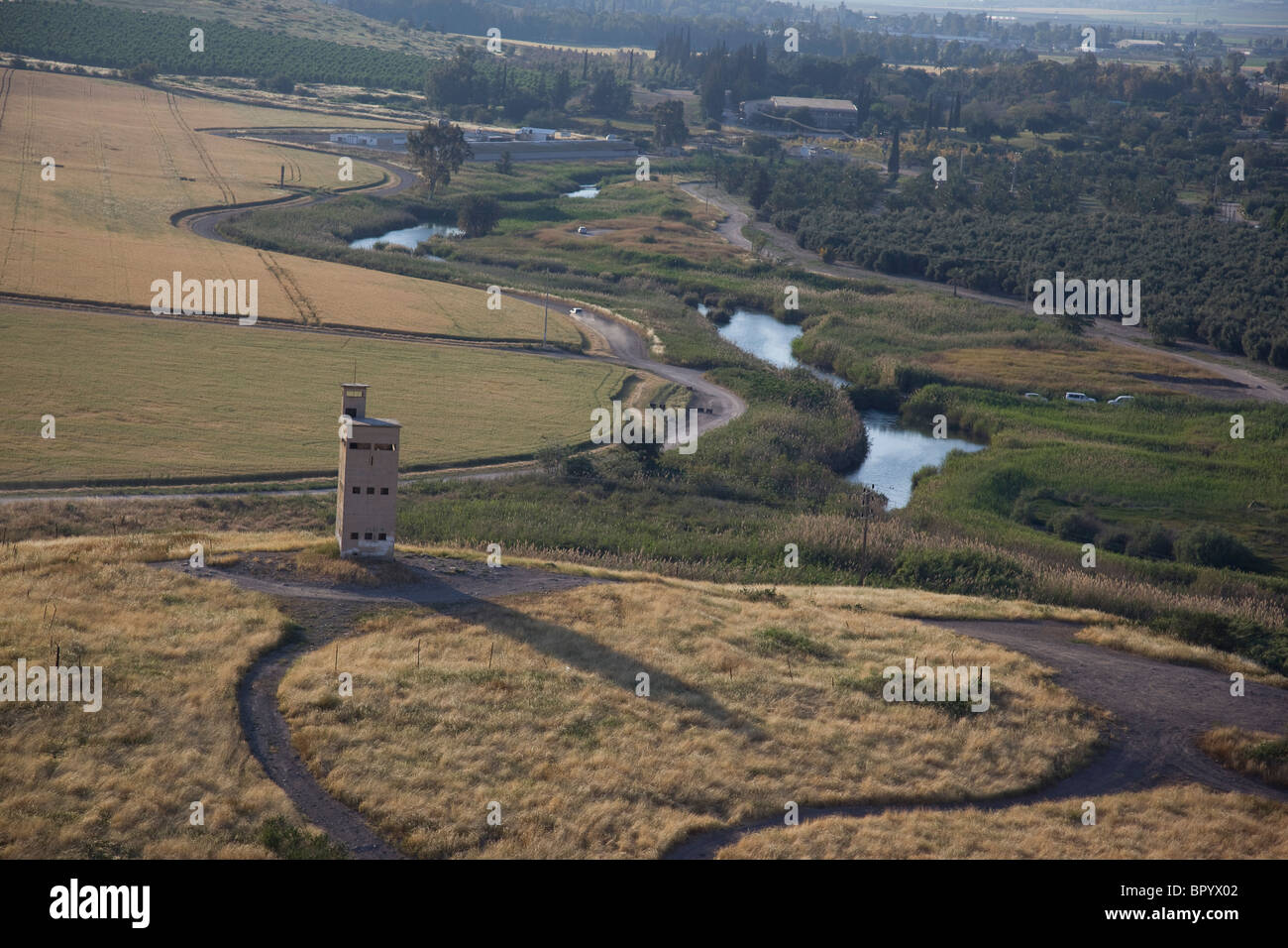 Aerial photograph of Tel Shokek in the Jordan valley - Stock Image