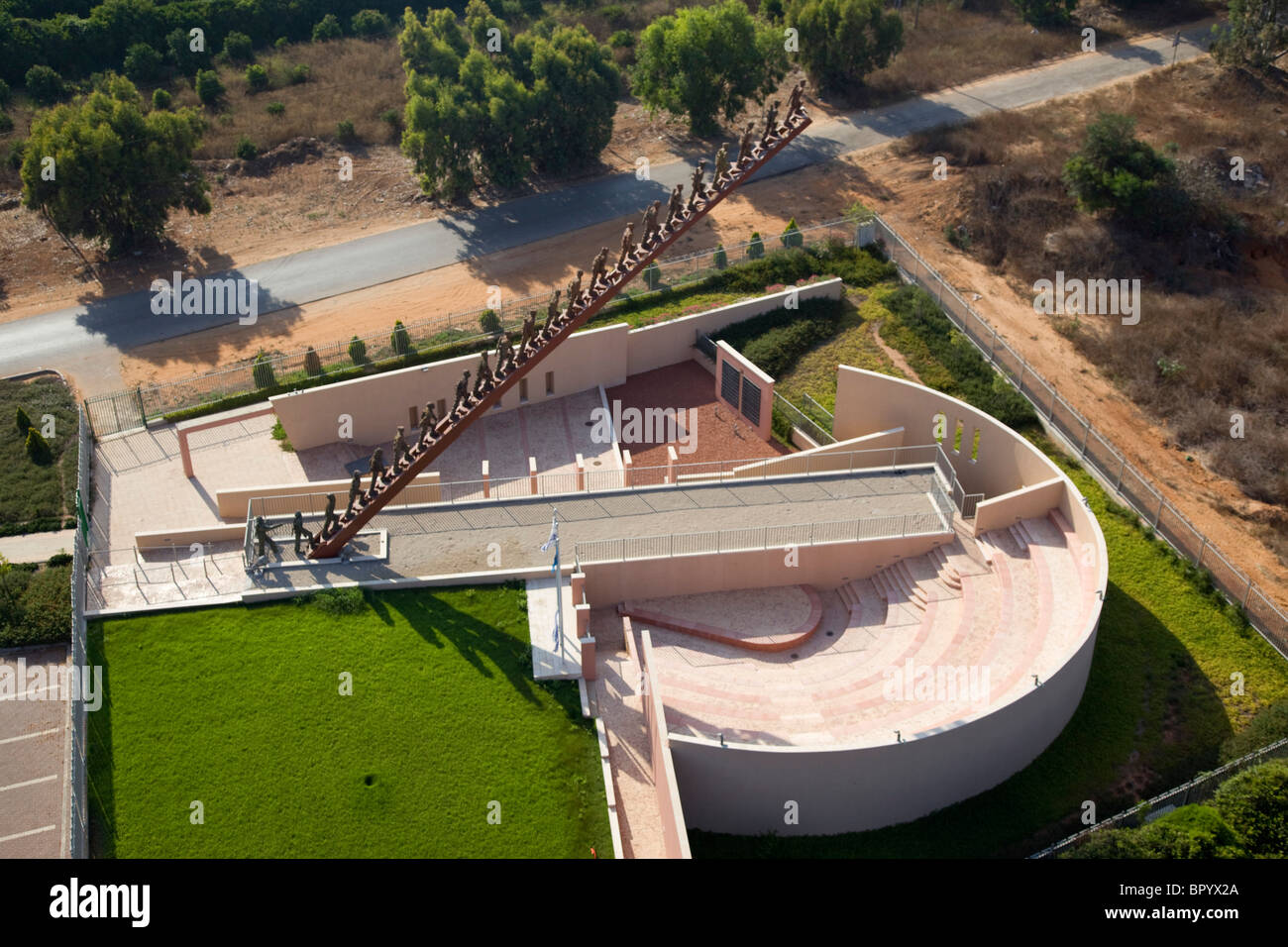 Aerial photograph of the Beit Lid Memorial in the Sharon - Stock Image