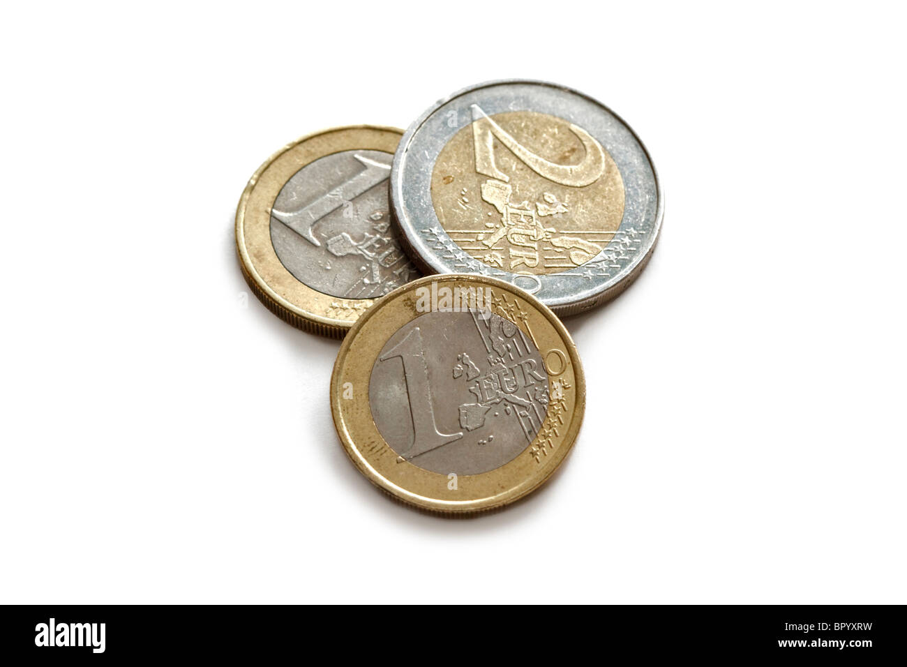 One and Two Euro Coins Stock Photo