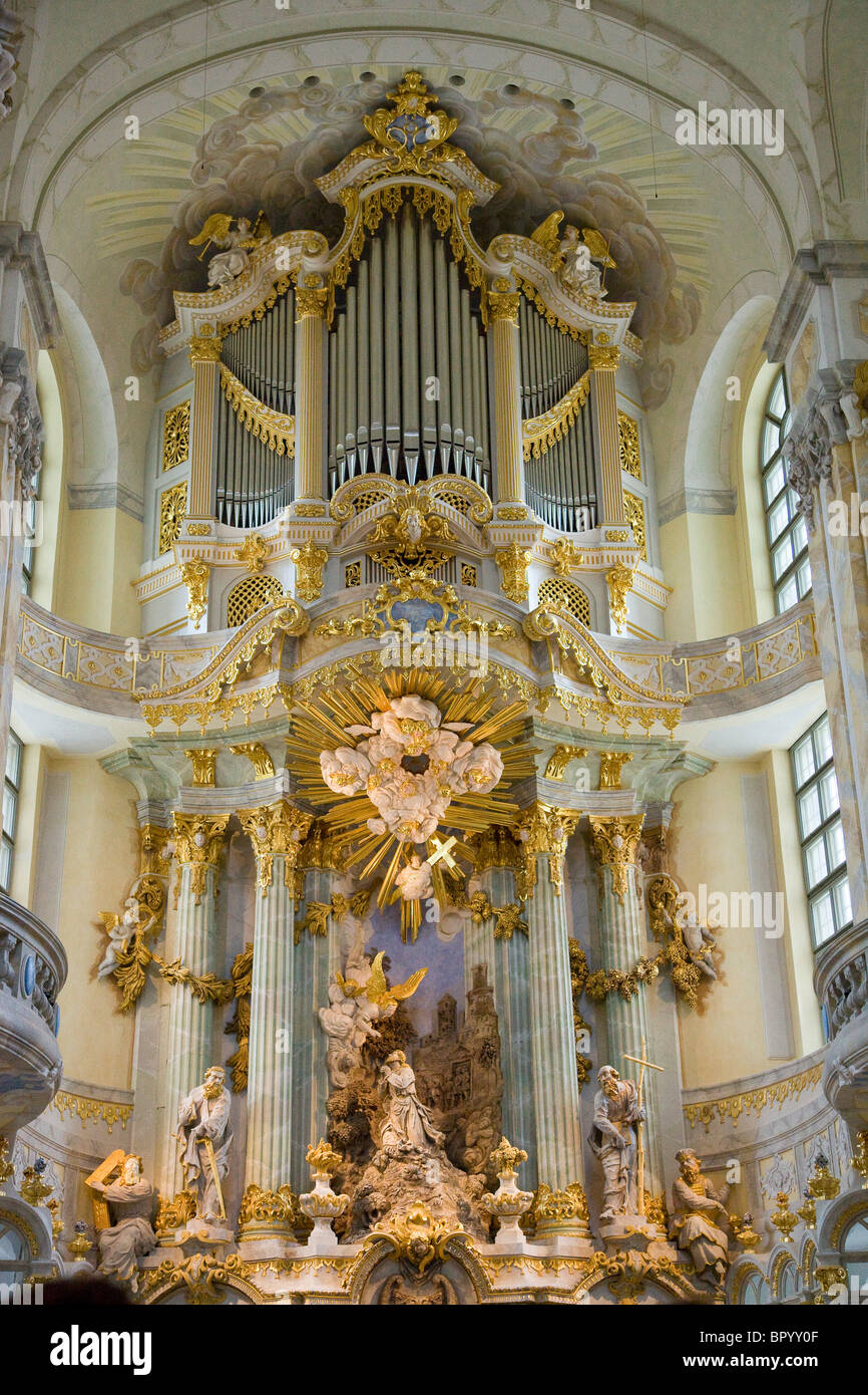 PHotograph of a giant organ in an old cathedral in Dresden Germany - Stock Image
