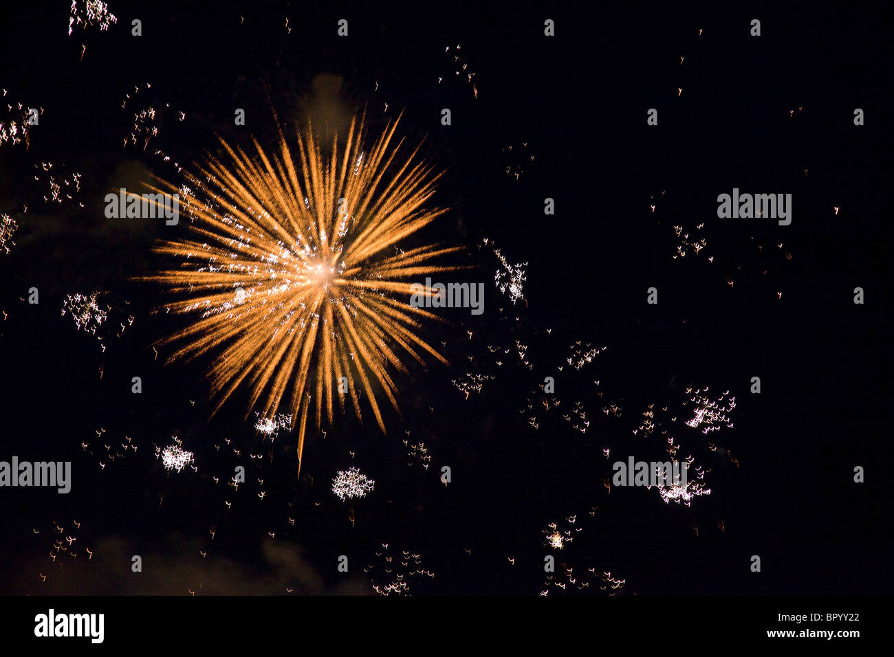 Abstract view of Fire works above the city of Dresden Germany - Stock Image