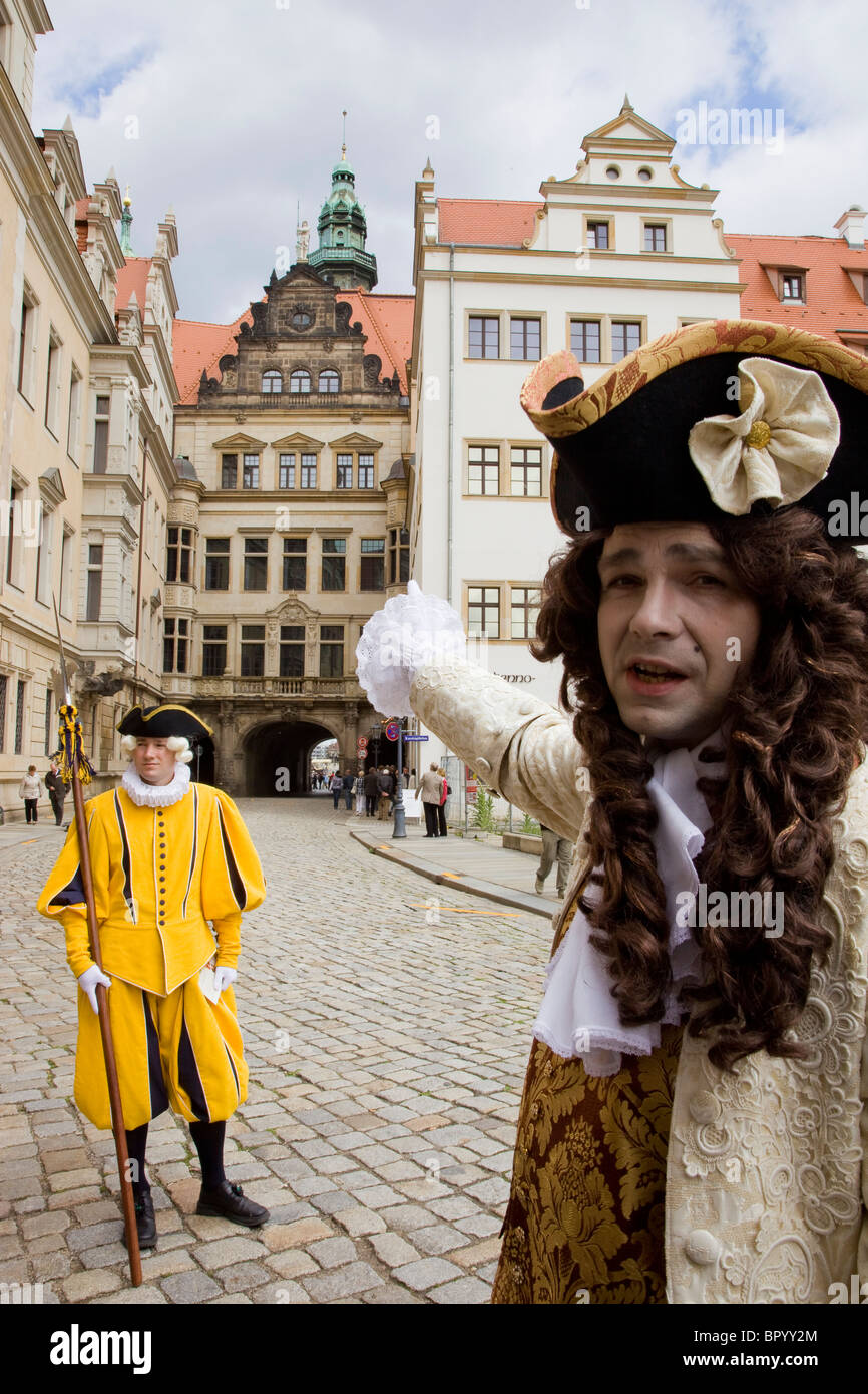 Photograph of a German actor in the historic streets of Dresden - Stock Image