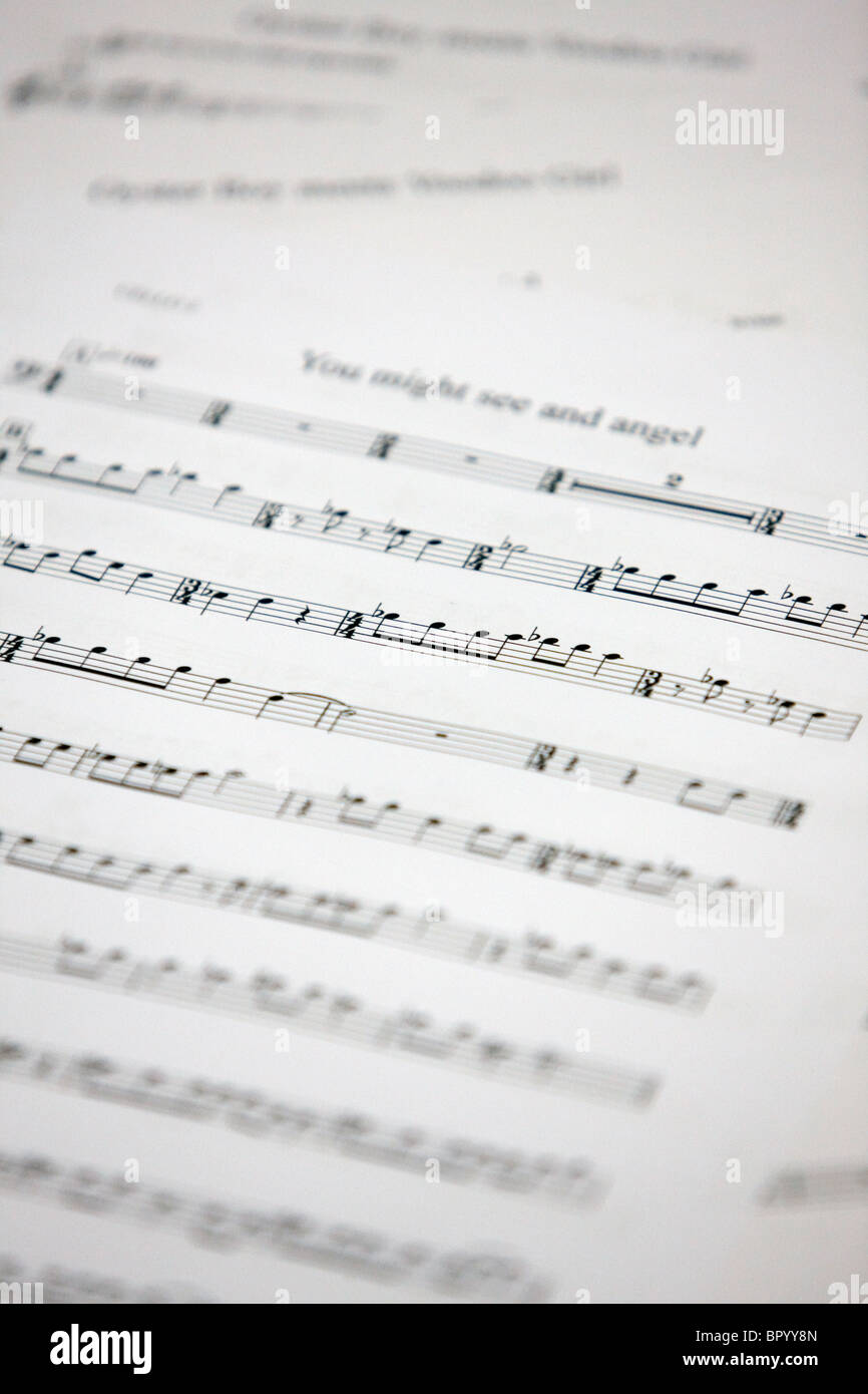 Image of sheet music for a choir - Stock Image