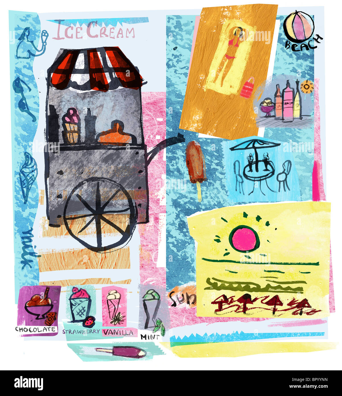 Collage of ice-cream cart, sun and beach, illustrating summer - Stock Image