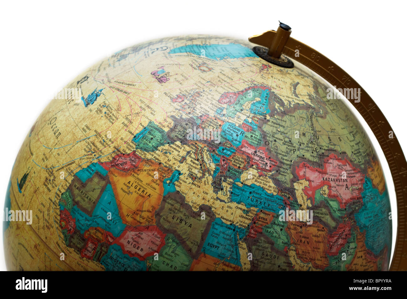 Closeup of the top half of a globe turned to show Europe and Africa Stock Photo