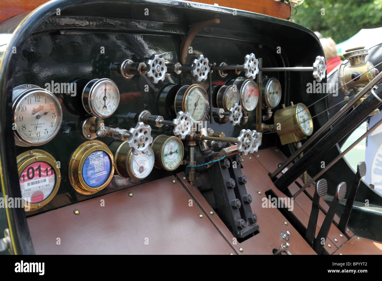 Dials On The Dashboard Of A Stanley Steamer Car