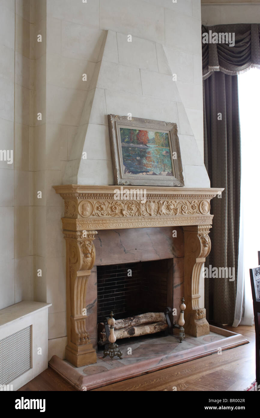 Fireplace White Brick Wall No Fire Living Room Stock Photo 31347535