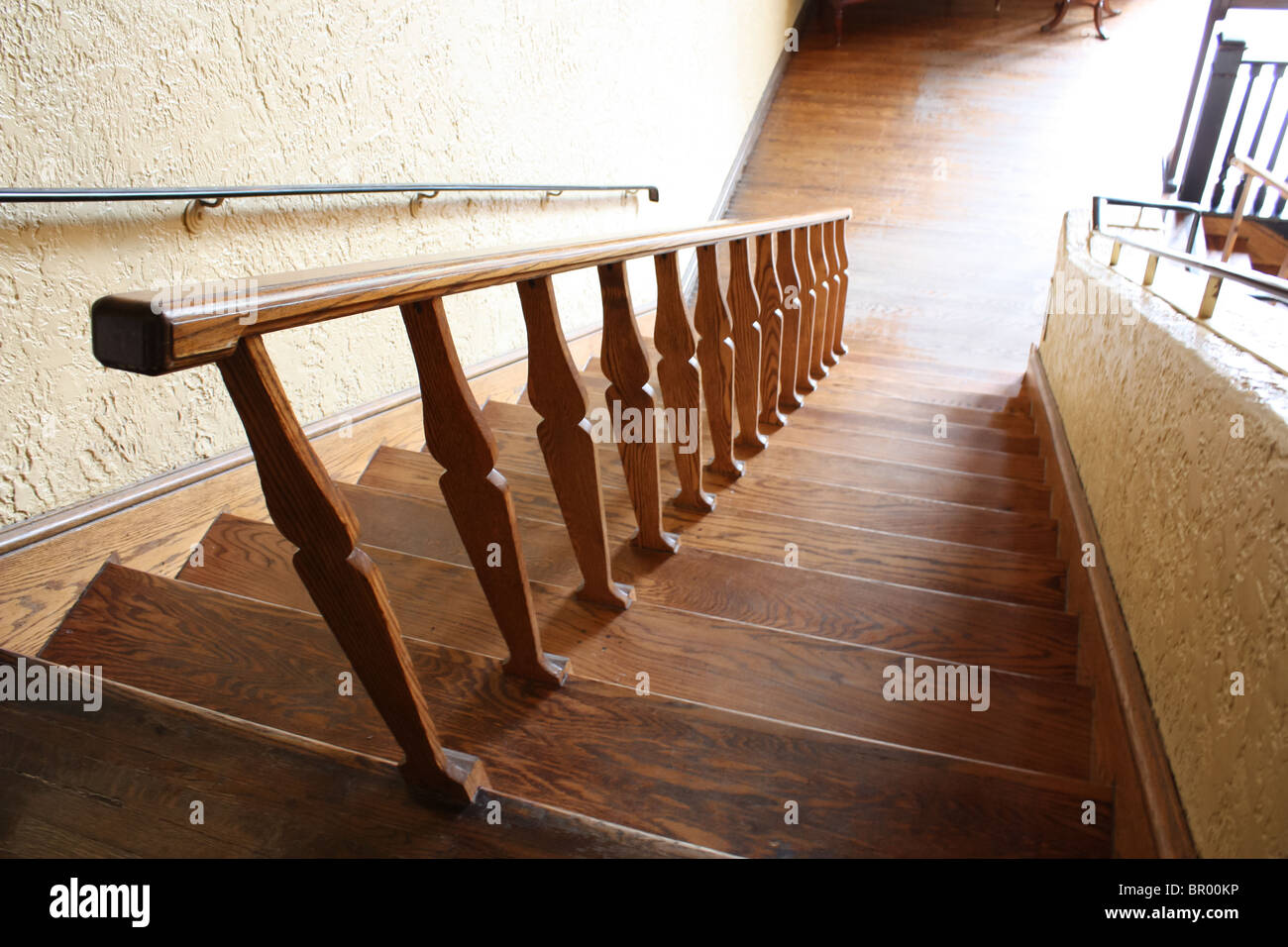 Wooden Stairs Looking Down Vintage Old Retro Stock Photo ...