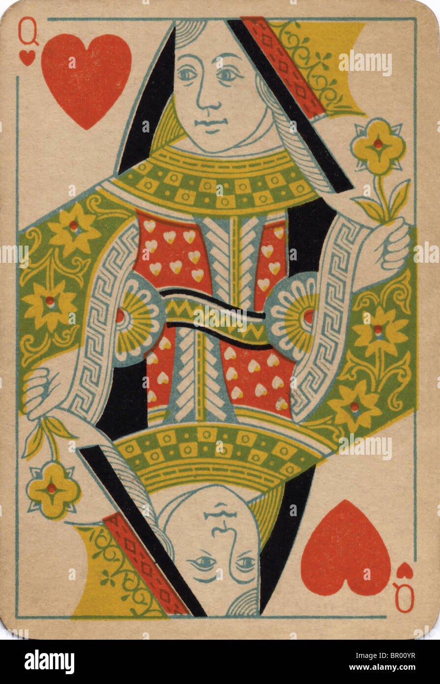 Queen of Hearts vintage playing card - Stock Image