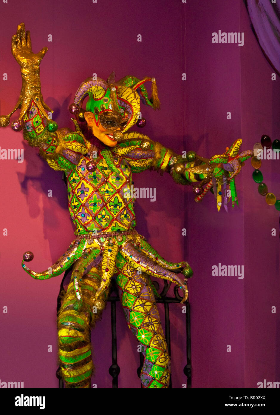 Fanciful jester figure in French Quarter shop of New Orleans, Louisiana, USA - Stock Image