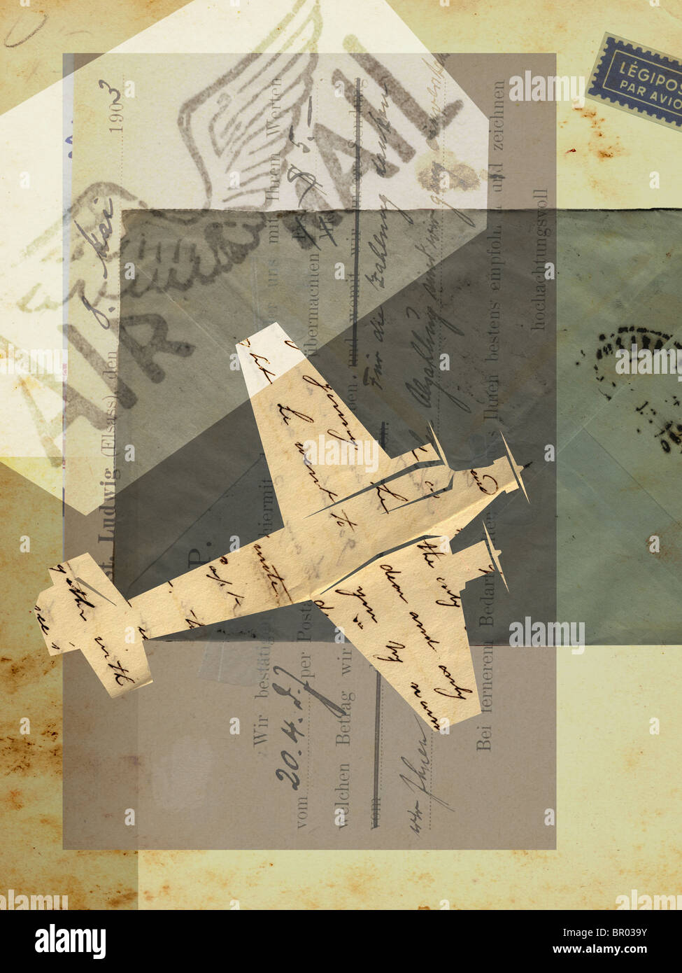Collage with an airplane, air mail, vintage letters and stamps - Stock Image