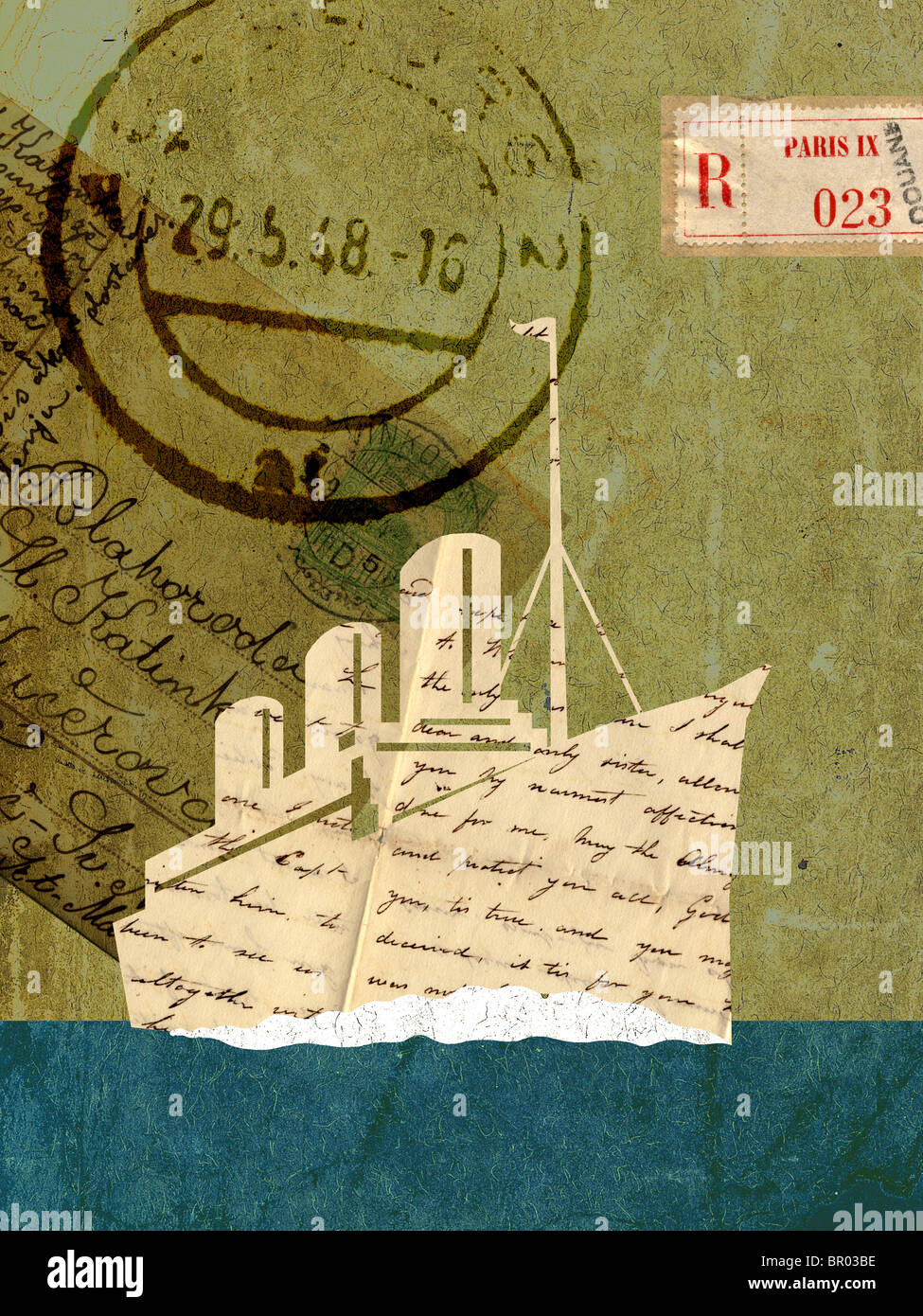 Collage with a cruise ship, vintage letters and stamps - Stock Image