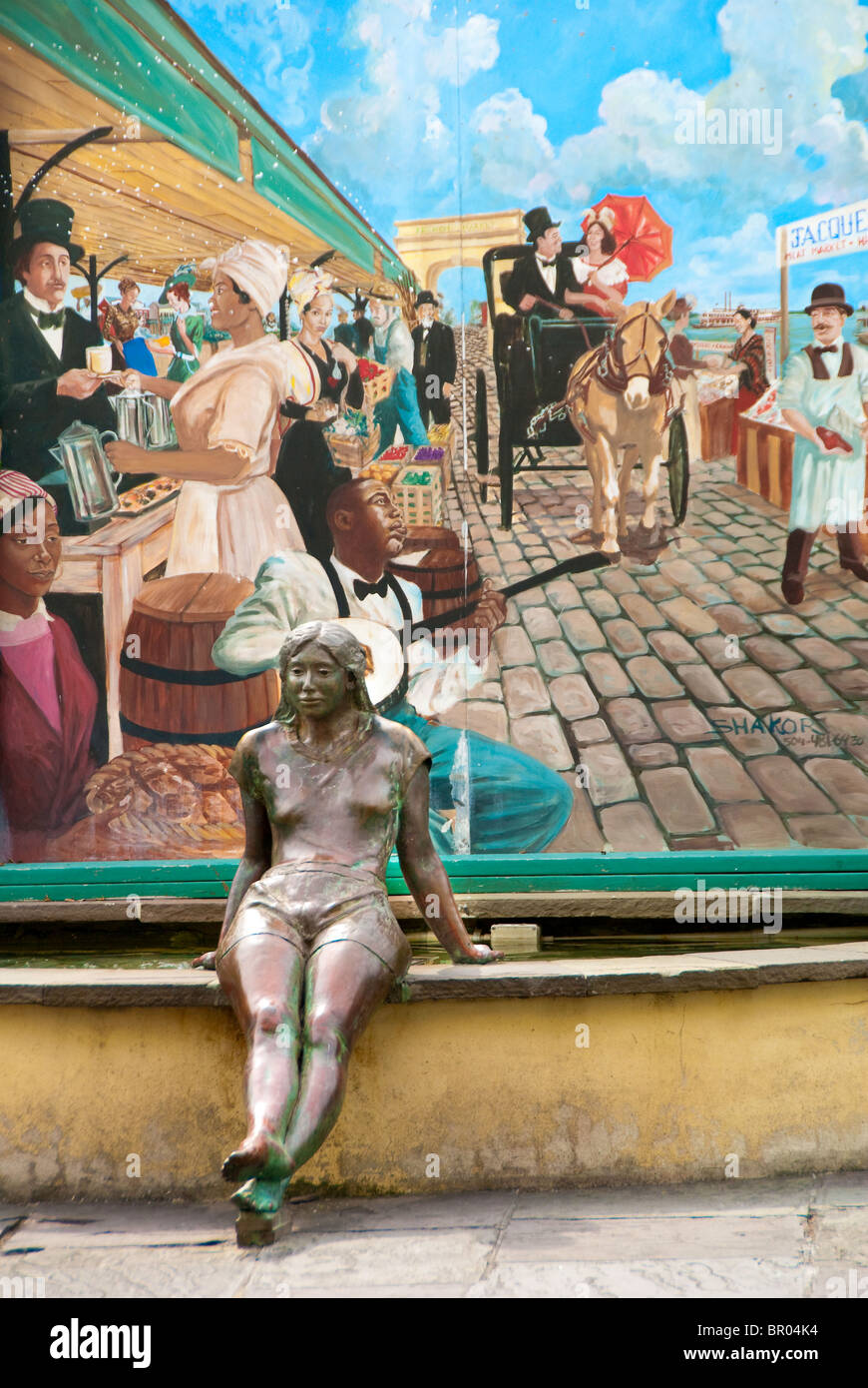 French Market fountain, statue and painting in the French Quarter of New Orleans, Louisiana, USA Stock Photo