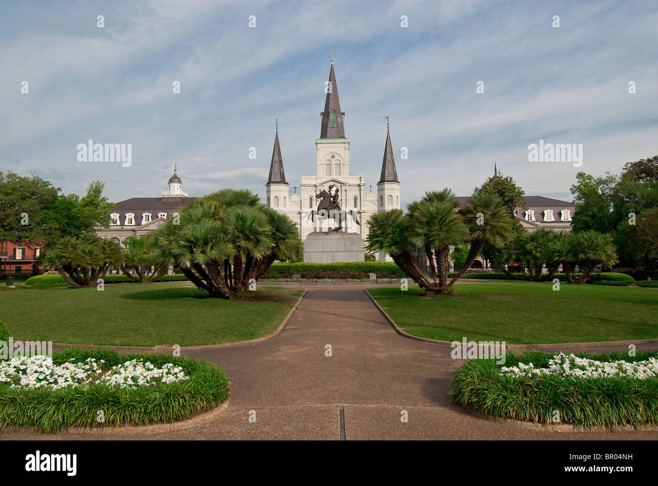 Andrew Jackson memorial statue and Saint Louis Cathedral in Jackson Square of the French Quarter, New Orleans, Louisiana, Stock Photo