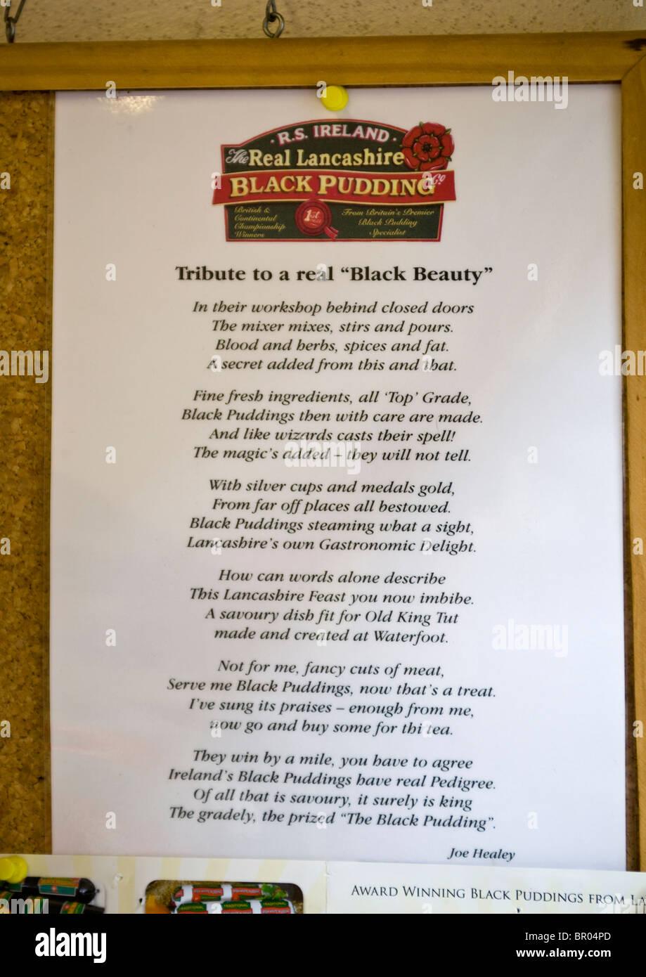 Black Pudding Poem in Butchers Shop Accrington Lancashire - Stock Image