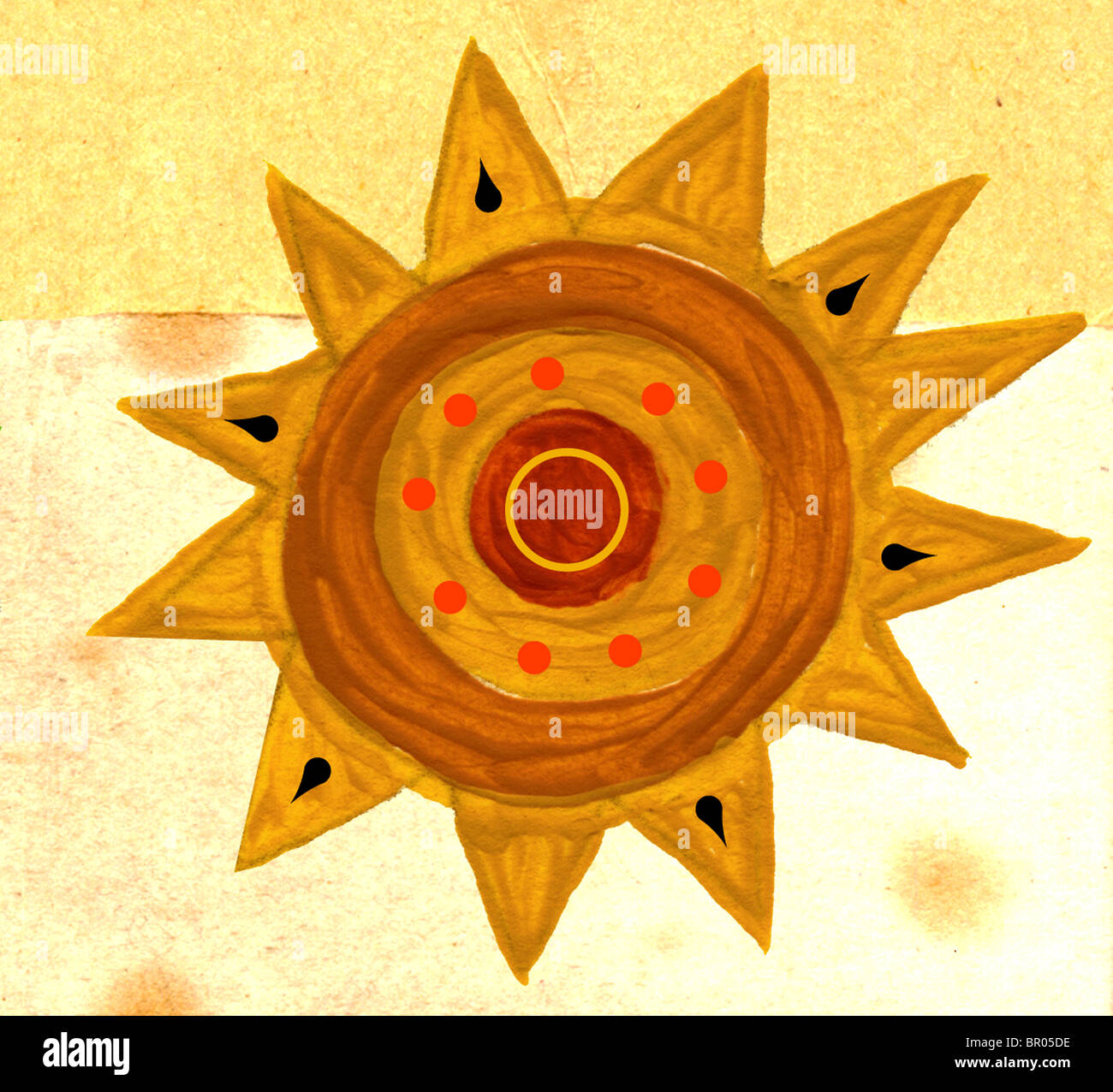 A graphical representation of the sun - Stock Image
